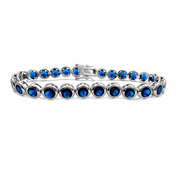 Dark Blue Bezel Tennis Bracelet (Silver) Popular Jewelry New York