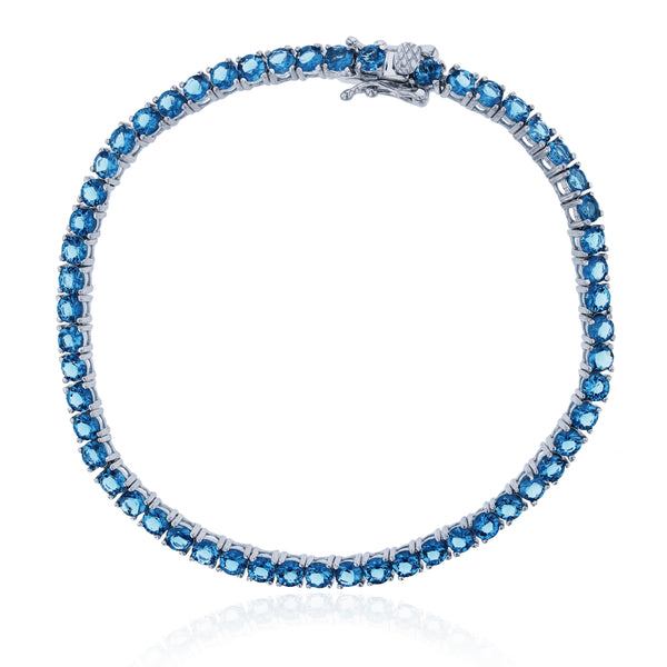 Dark Blue Tennis Bracelet (Silver) Popular Jewelry New York