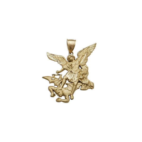 Diamond-Cut Saint Michael Matte Finish Pendant (14K)