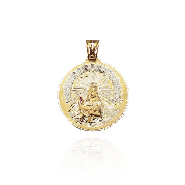 Diamond-Cut Saint Barbara Medallion Pendant (14K)