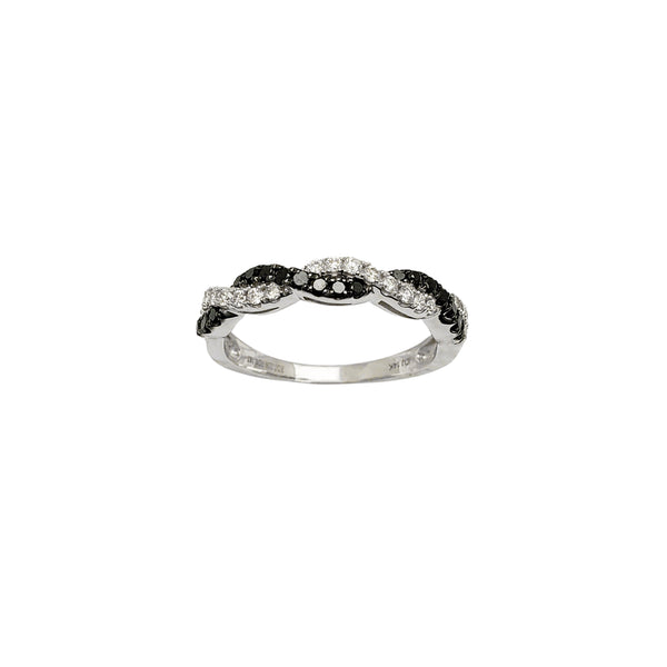 Diamond Black-White Twist Ring (14K) Popular Jewelry New York