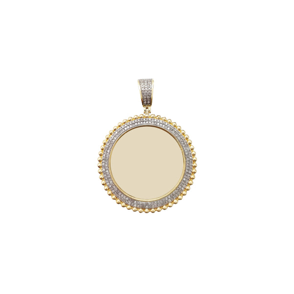 Diamond Budded Pave Round Memorial Picture Medallion Pendant (10K) Popular Jewelry New York