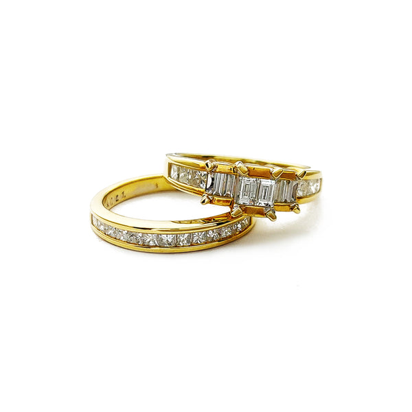 Diamond Channel Setting Engagement and Wedding Ring Set (14K)