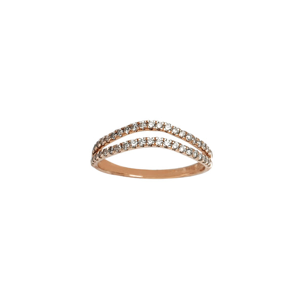Diamond Chevron Rose Gold Ring (14K) Popular Jewelry New York