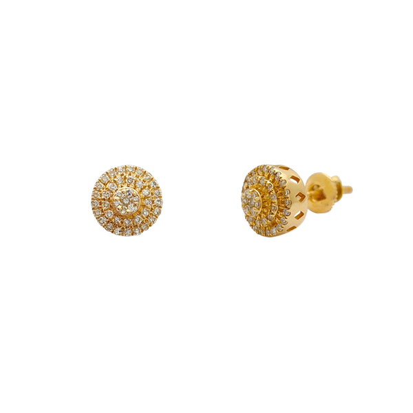 Diamond Cluster Cake Yellow Gold Stud Earring (14K) Popular Jewelry New York