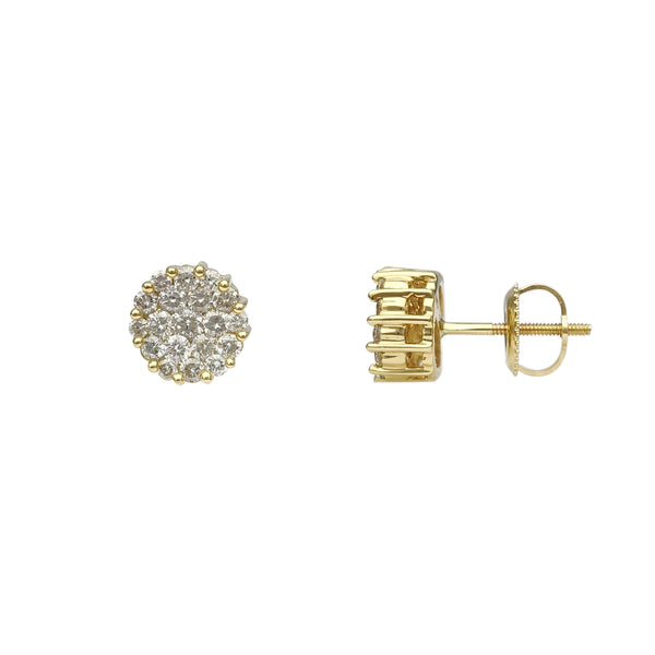 Diamond Cluster Invisible Set Round Stud Earrings (14K) Popular Jewelry New York