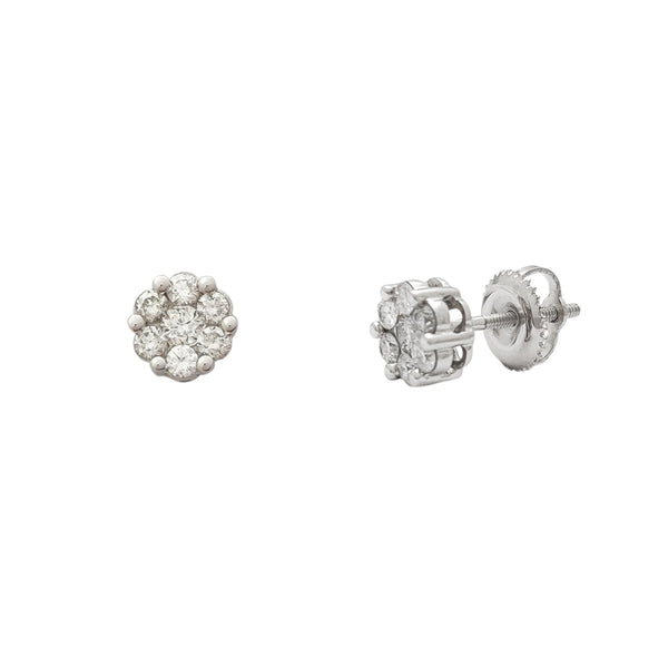 Diamond Cluster Round White Gold Stud Earrings (14K) Popular Jewelry New York
