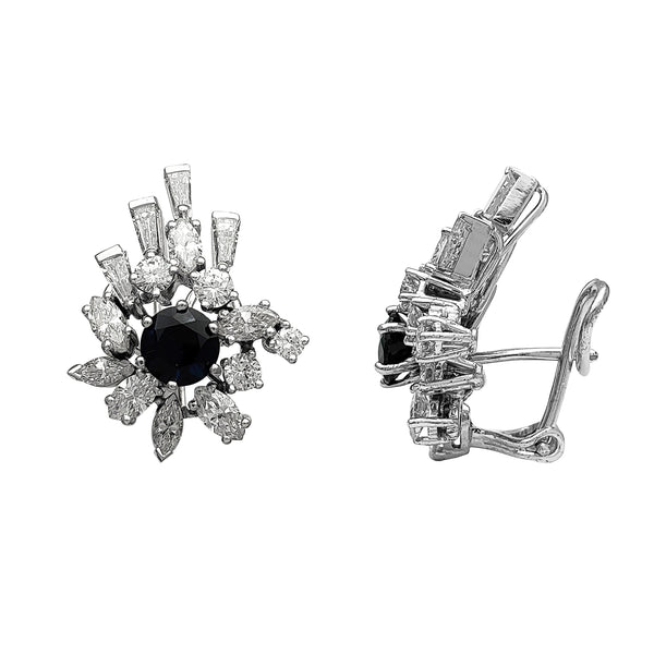 Diamond Cocktail Baguettes & Marquise Stud Earirngs (18K) Popular Jewelry New York