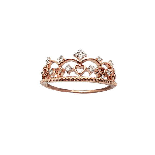 Diamond Crown Rose Gold Ring (14K) Popular Jewelry New York