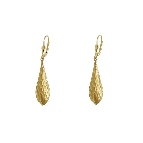Diamond Cut Texture Drop Earrings (14K) Popular Jewelry New York