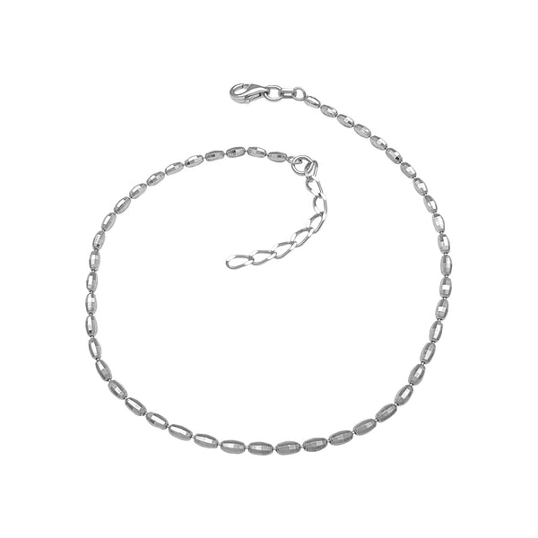 Diamond Cuts Beads Anklet (Silver) Popular Jewelry New York