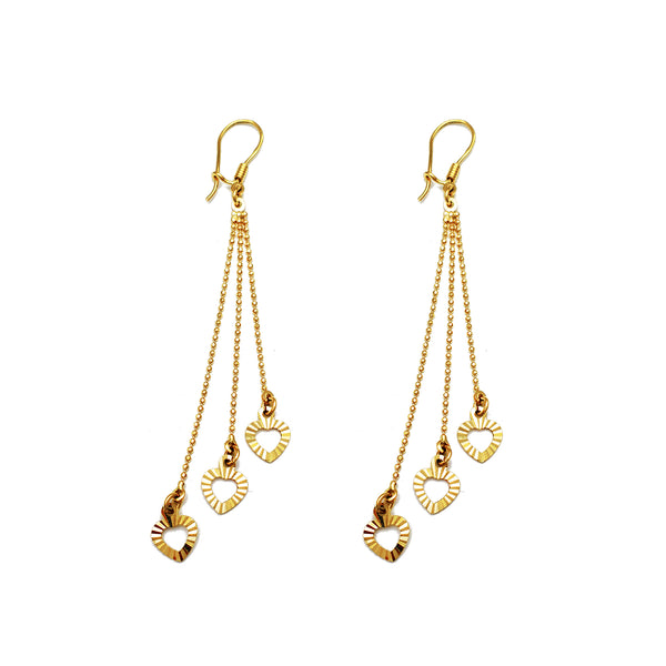Diamond Cuts Hearts & Ball Drop Earrings (14K) Popular Jewelry New York