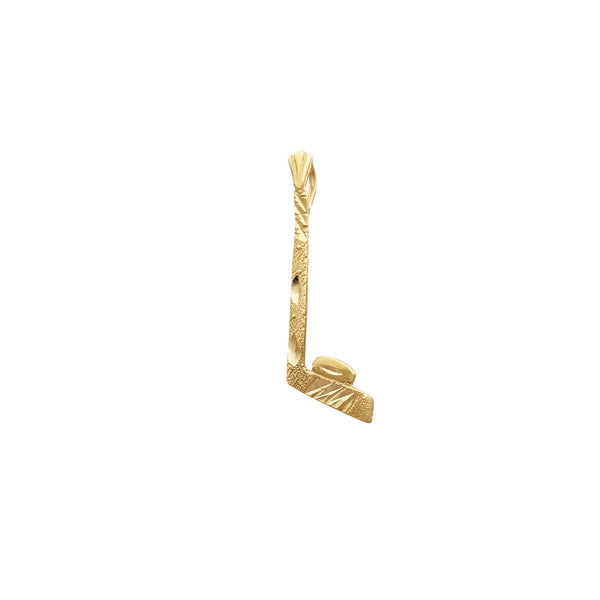 Diamond koupe Hockey baton & rondèl pendant (14K) Popular Jewelry New York
