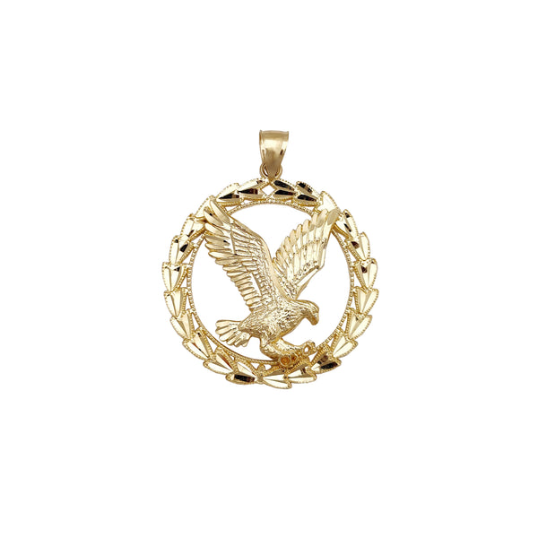 Diamond Cuts Leaf Framed Flying Eagle Pendant (14K) Popular Jewelry New York