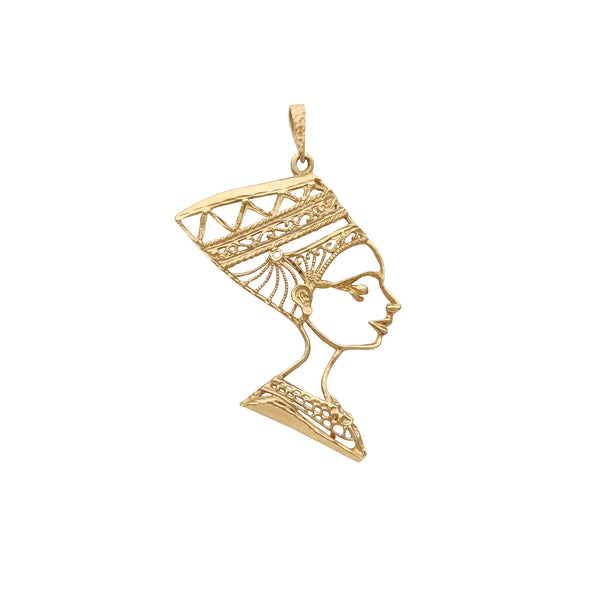 Diamond Cuts Outline Nefertiti Pendant (14K) Popular Jewelry New York