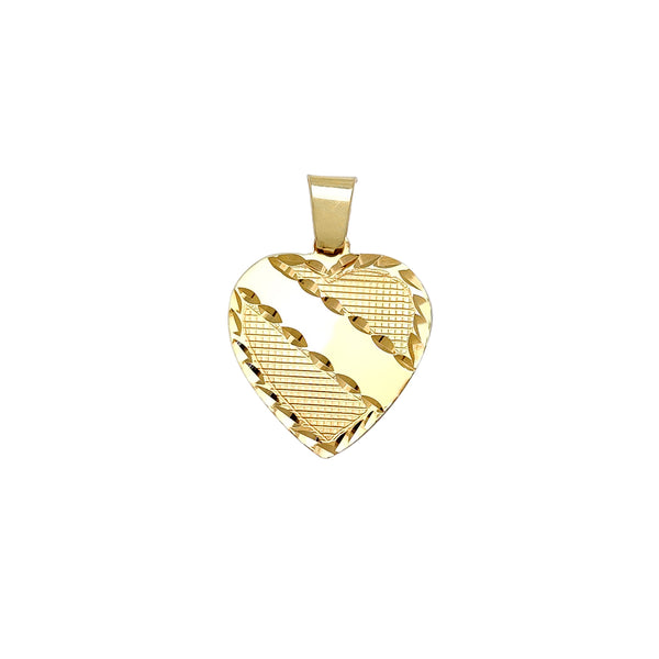 Diamond Cuts Plain Regal Heart Pendant (14K) Popular Jewelry New York