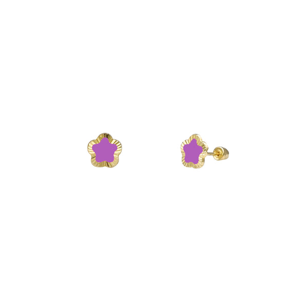 Diamond Cuts Purple Star Stud Earrings (14K) Popular Jewelry New York