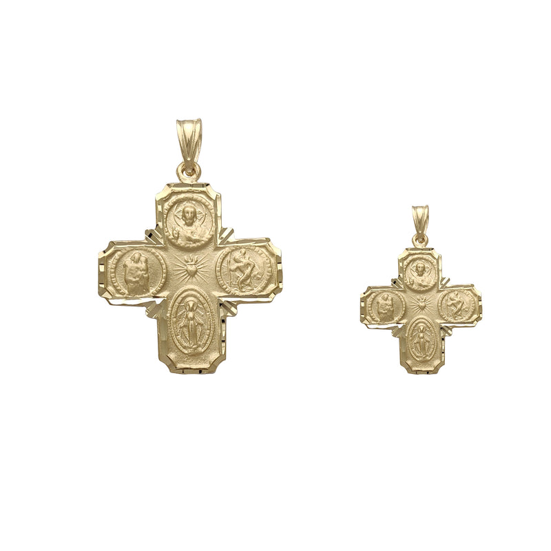 [Diamond-Cuts] Reversible Saints Catholic Cross Pendant (14K)