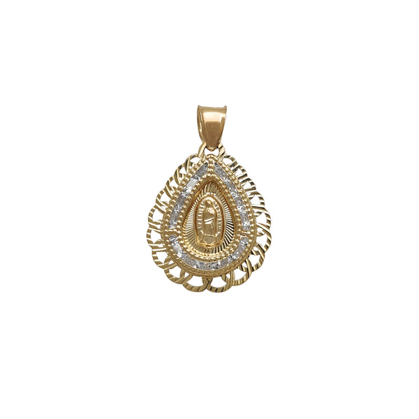 Diamond Cuts Teardrop Shape Zirconia Frame Virgin Mary Pendant (14K) Popular Jewelry New York