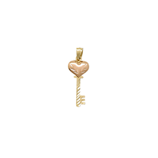 Diamond Cuts Two-Tone Heart Key Pendant (14K) Popular Jewelry New York