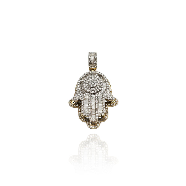Diamond Elevated Hamsa Pendant (14K)