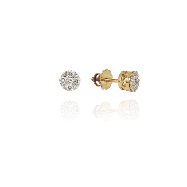 Diamond Top Column Stud Earrings (14K)