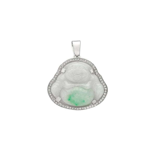 Diamond Frame Buddha Jade Pendant (14K) Popular Jewelry New York