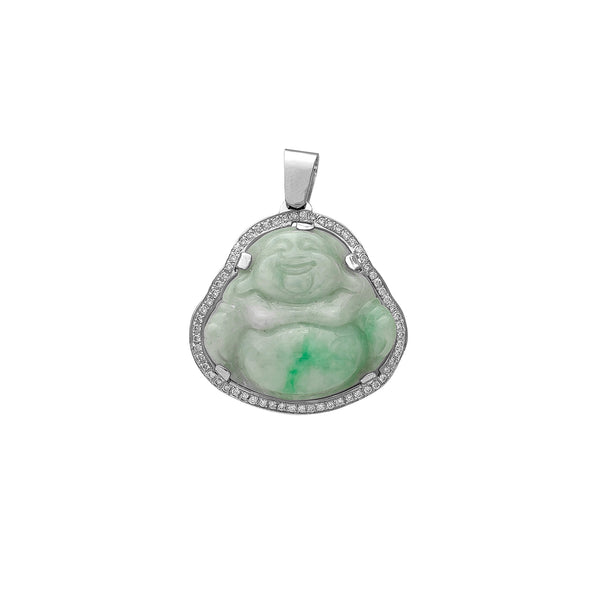 Diamond Frame Laughing Buddha Jade Pendant (14K) Popular Jewelry New York