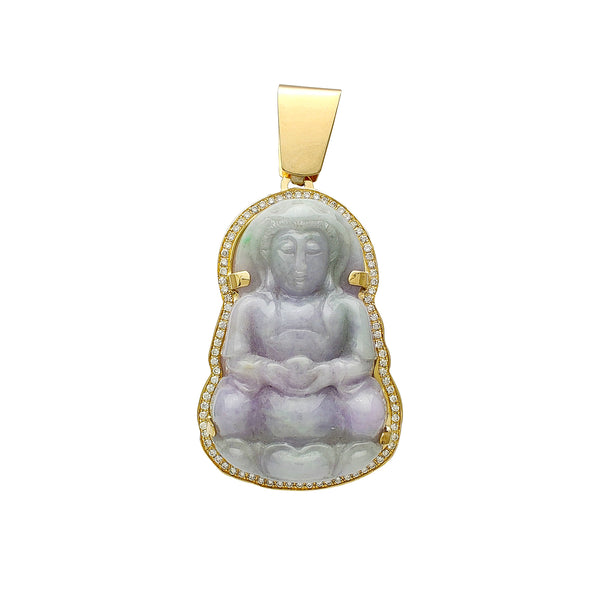 Diamond Frame Purple & Green GuanYin Jade Pendant (14K) Popular Jewelry New York