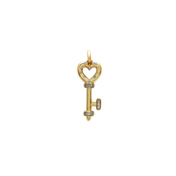Yellow Gold Diamond Heart Key Pendant (14K) Popular Jewelry New York