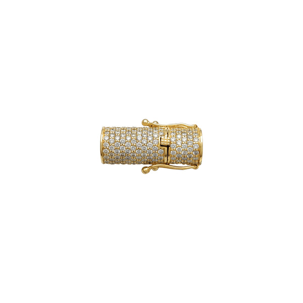 Diamond Iced-Out Cylinder Clasp-Lock (14K)