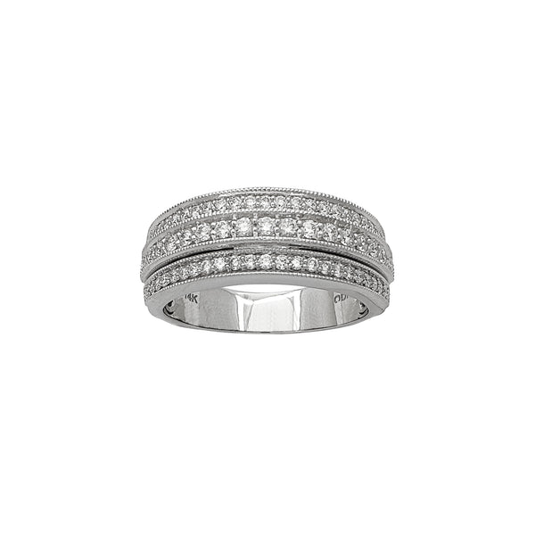 Diamond Milgrain Textured Border Wedding Band Ring (14K) Popular Jewelry New York