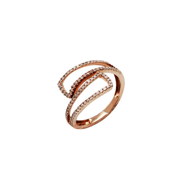Diamond Pave Bypass Rose Gold Ring (14K) Popular Jewelry New York