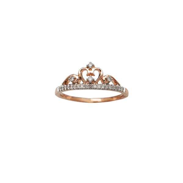 Diamond Pave Crown Rose Gold Ring (14K) Popular Jewelry New York