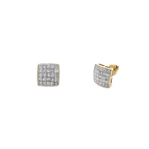 Orecchini a bottone concavi quadrati con pavé di diamanti (14K) Popular Jewelry New York