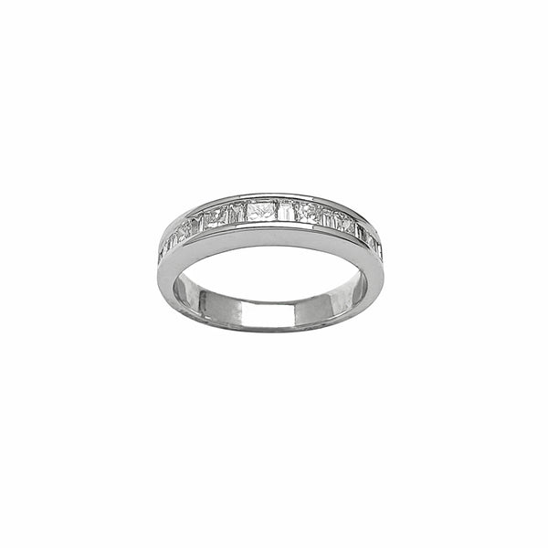 Diamond Princess Cut & Baguettes Channel Setting Ring (14K) Popular Jewelry New York