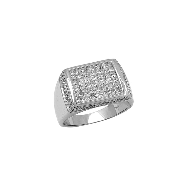 Diamond Rectangle Signet Ring (14K) Popular Jewelry New York
