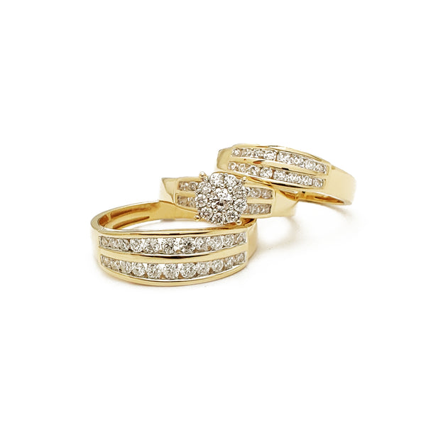 Diamond Round 2-Rows Channel Setting 3 Piece Set Ring (14K)