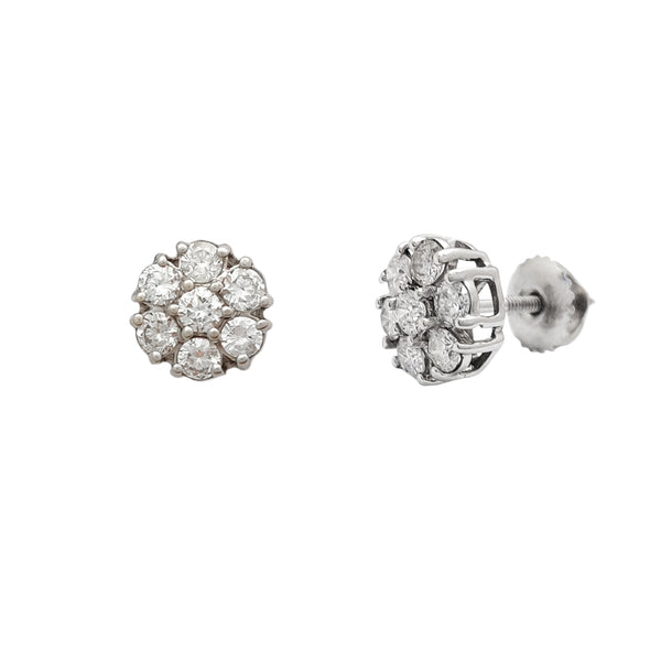Diamond Round Cluster White Gold Stud Earrings (14K) Popular Jewelry New York