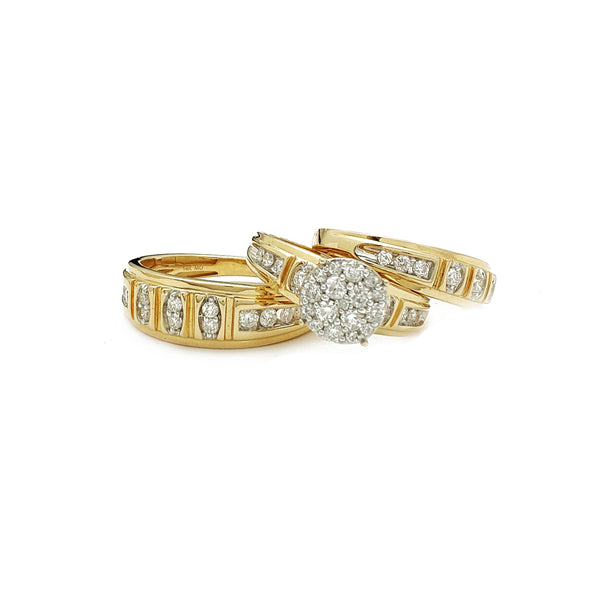 Diamond Round Pave Three Piece Set Rings (14K) Popular Jewelry New York