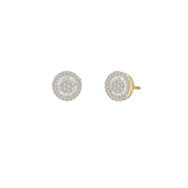 Diamond Round Wheely Stud Earrings (14K)