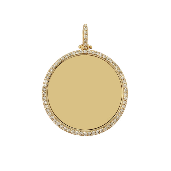 Diamond Solid Round Picture Medallion Pendant (14K) Popular Jewelry New York
