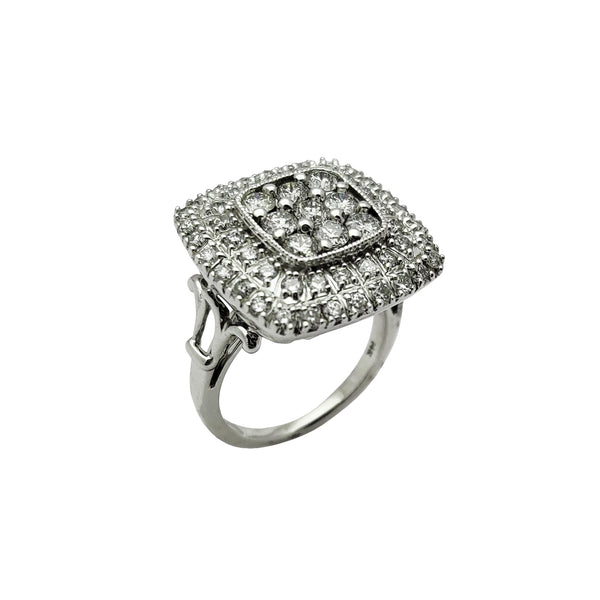 Diamond Square Cocktail Ring (14K) Popular Jewelry Nju Jork