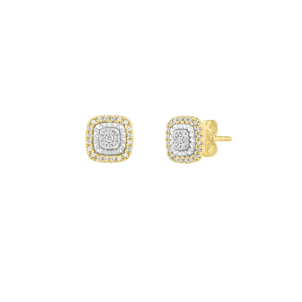 Diamond Square Roulette Stud Earrings (14K)
