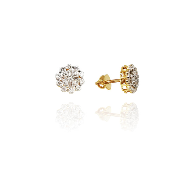 Diamond Sunflower Stud Earrings (14K)
