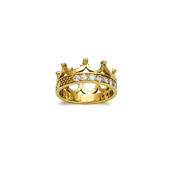 Diamond Textured King's Crown Ring (14K) Popular Jewelry New York