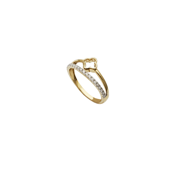 Diamond Two Paths Clover Ring (14K)