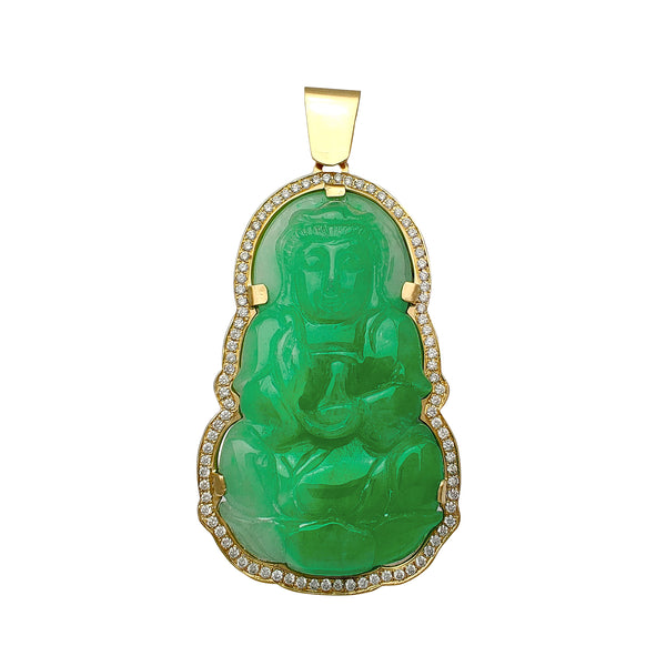 Diamond Yellow Gold Frame GuanYin Jade Pendant (14K) Popular Jewelry New York
