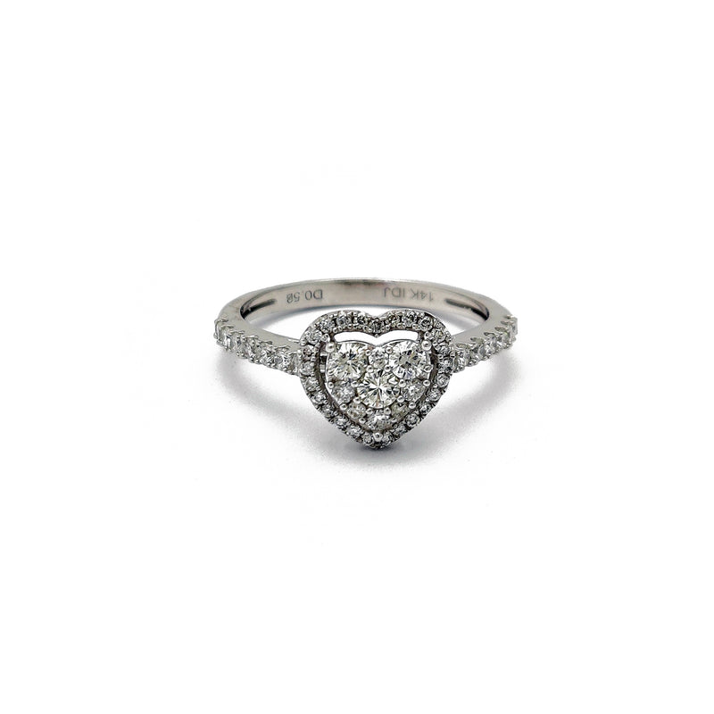 Diamond Double Heart Shaped Ring (14K) Popular Jewelry New York