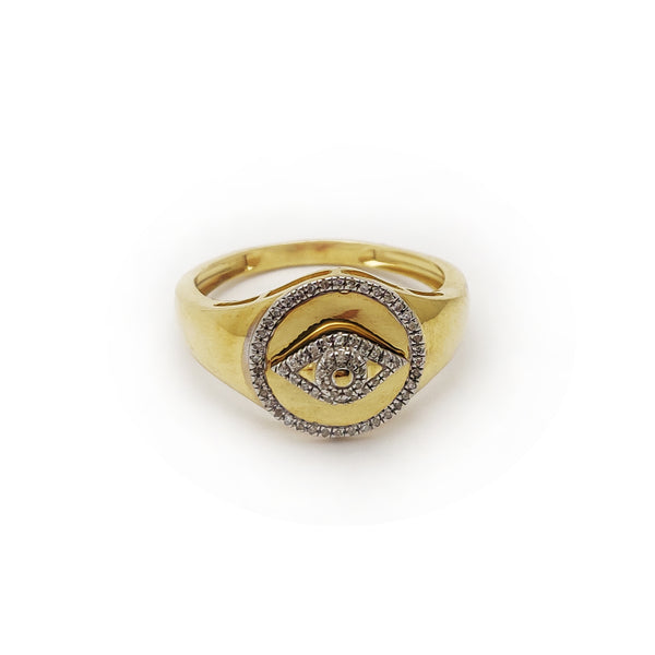Diamond Halo Evil Eye Ring (10K) Popular Jewelry New York